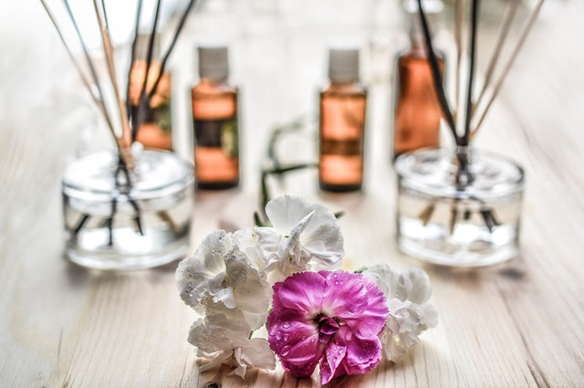 air fresheners and pink and white flowers